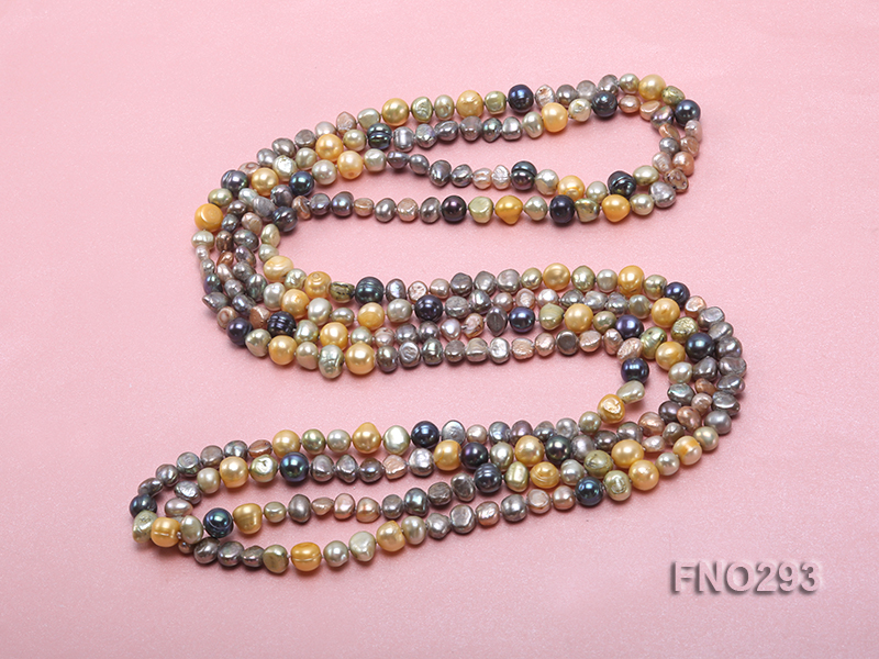 5-8mm multicolor flat freshwater pearl necklace big Image 4
