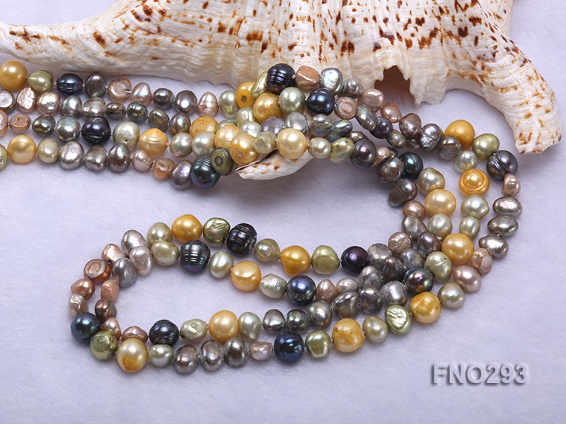 5-8mm multicolor flat freshwater pearl necklace big Image 5