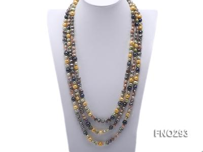 5-8mm multicolor flat freshwater pearl necklace FNO293 Image 1