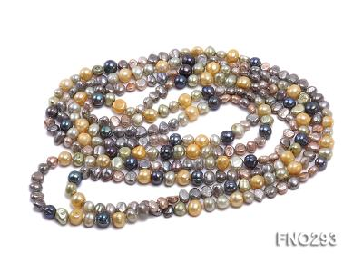 5-8mm multicolor flat freshwater pearl necklace FNO293 Image 2