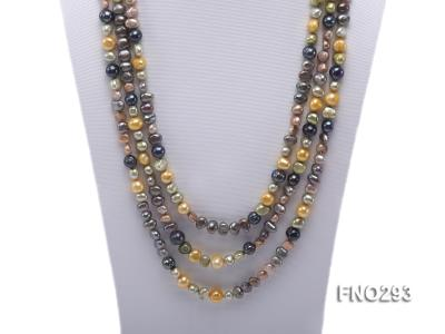 5-8mm multicolor flat freshwater pearl necklace FNO293 Image 3