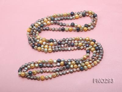 5-8mm multicolor flat freshwater pearl necklace FNO293 Image 4