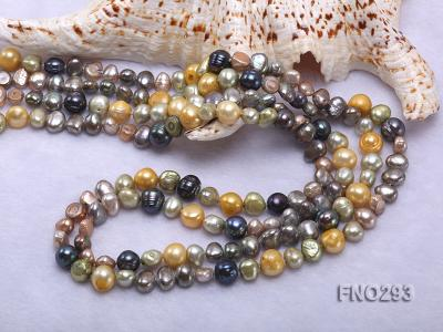 5-8mm multicolor flat freshwater pearl necklace FNO293 Image 5