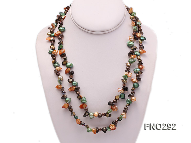 5-20mm multicolor biwa-shaped pearl and smoky crystal necklace big Image 1