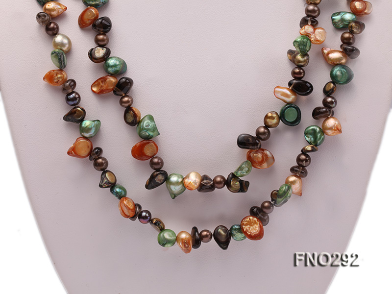 5-20mm multicolor biwa-shaped pearl and smoky crystal necklace big Image 2