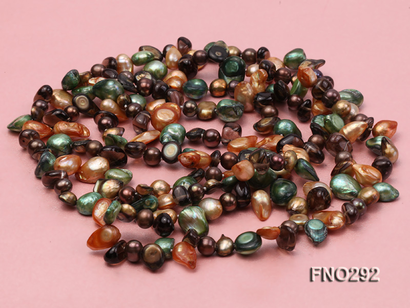 5-20mm multicolor biwa-shaped pearl and smoky crystal necklace big Image 3