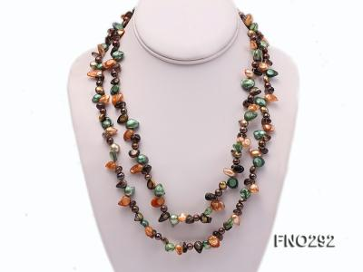 5-20mm multicolor biwa-shaped pearl and smoky crystal necklace FNO292 Image 1