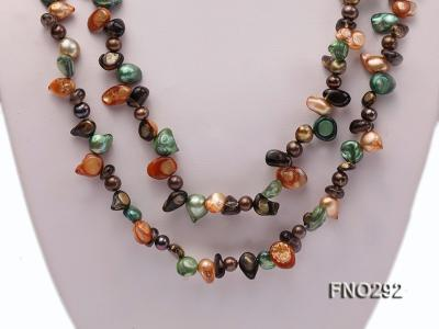 5-20mm multicolor biwa-shaped pearl and smoky crystal necklace FNO292 Image 2