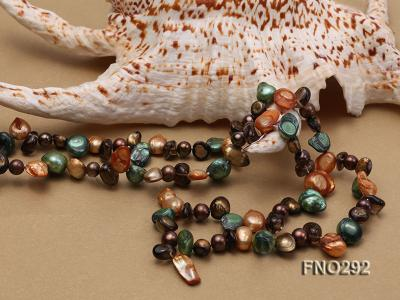 5-20mm multicolor biwa-shaped pearl and smoky crystal necklace FNO292 Image 4