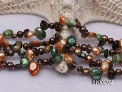 5-20mm multicolor biwa-shaped pearl and smoky crystal necklace FNO292 Image 5