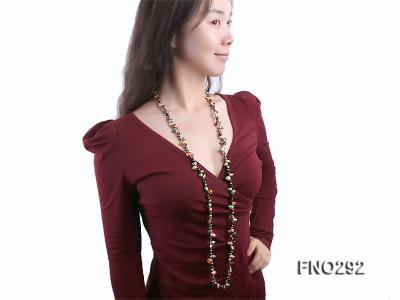 5-20mm multicolor biwa-shaped pearl and smoky crystal necklace FNO292 Image 7
