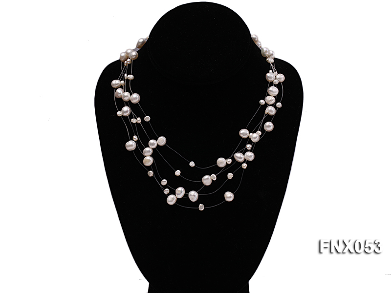 8-10mm White Cultured Freshwater Pearl Galaxy Necklace big Image 1