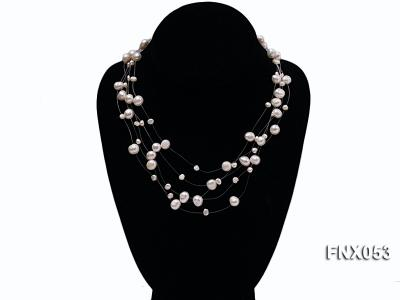 8-10mm White Cultured Freshwater Pearl Galaxy Necklace FNX053 Image 1