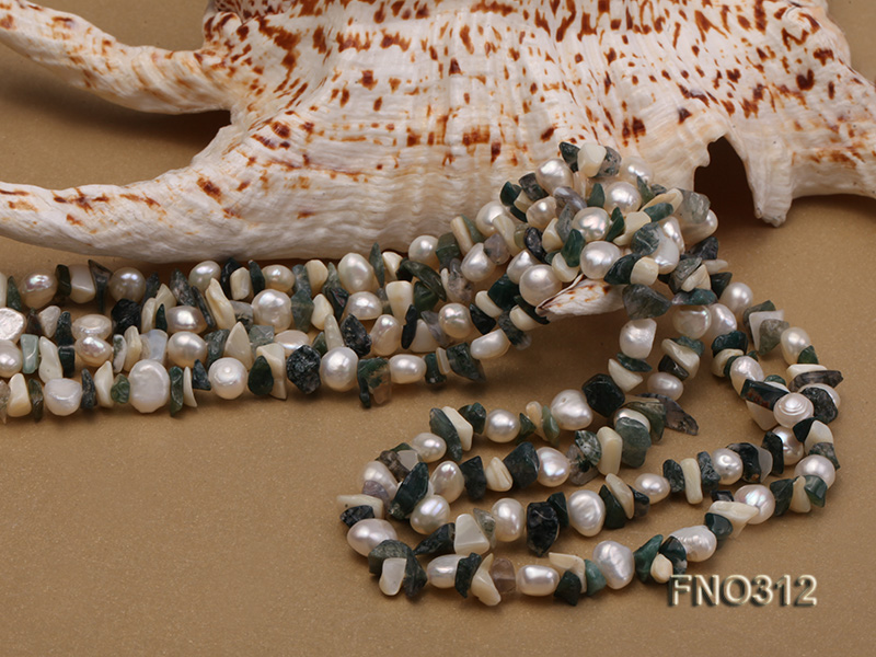 8-9mm multicolor flat freshwater pearl and broken shell necklace big Image 4