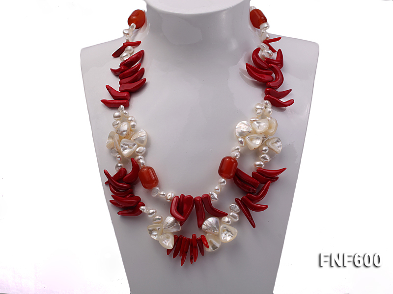 Two-row White Cultured Freshwater Pearl Necklace Decorated with Corals and Shell Pieces big Image 2