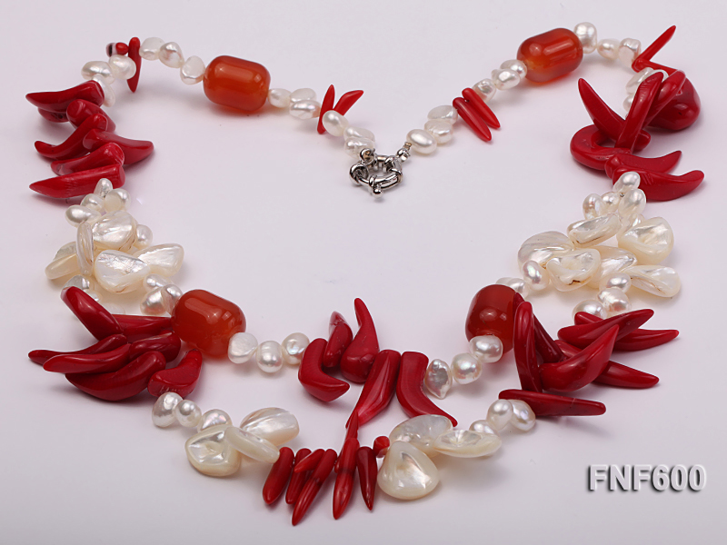 Two-row White Cultured Freshwater Pearl Necklace Decorated with Corals and Shell Pieces big Image 3
