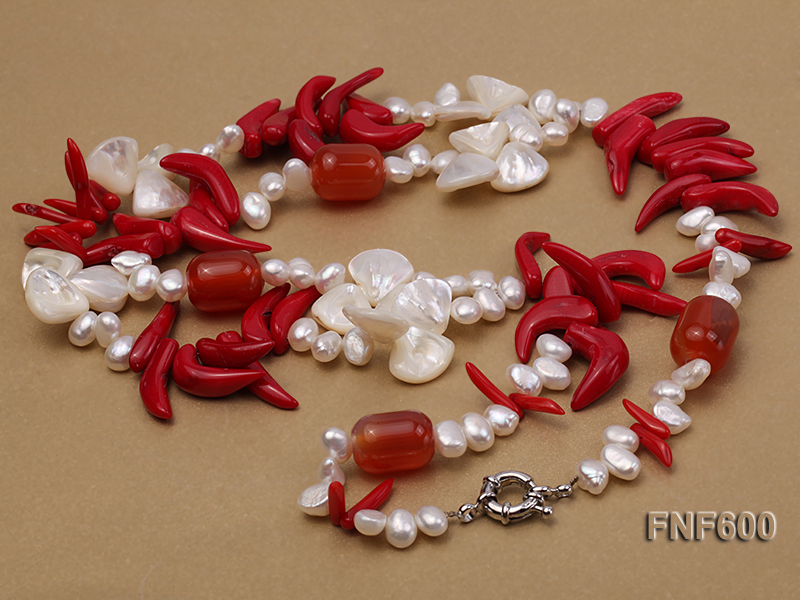 Two-row White Cultured Freshwater Pearl Necklace Decorated with Corals and Shell Pieces big Image 4