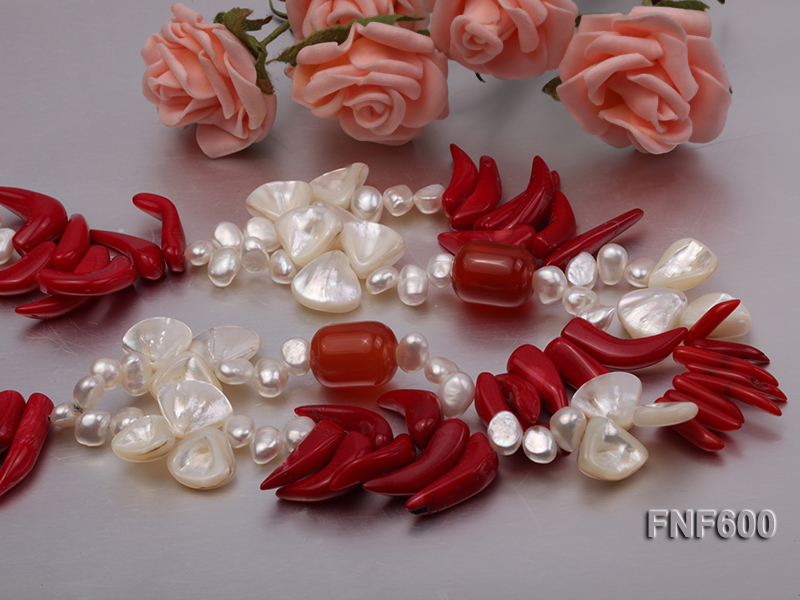 Two-row White Cultured Freshwater Pearl Necklace Decorated with Corals and Shell Pieces big Image 5