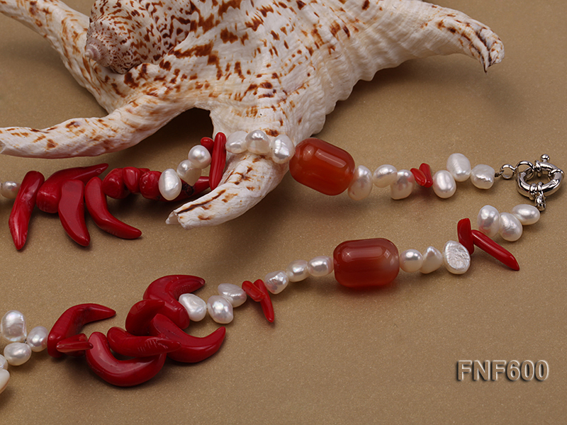 Two-row White Cultured Freshwater Pearl Necklace Decorated with Corals and Shell Pieces big Image 6