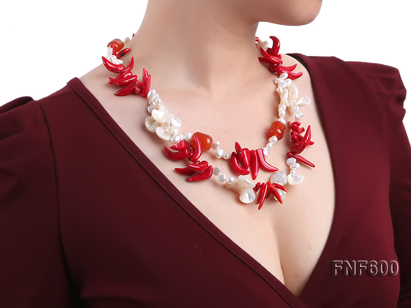Two-row White Cultured Freshwater Pearl Necklace Decorated with Corals and Shell Pieces big Image 7