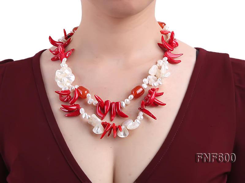 Two-row White Cultured Freshwater Pearl Necklace Decorated with Corals and Shell Pieces big Image 1