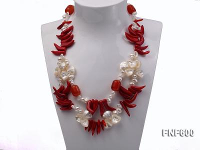 Two-row White Cultured Freshwater Pearl Necklace Decorated with Corals and Shell Pieces FNF600 Image 2