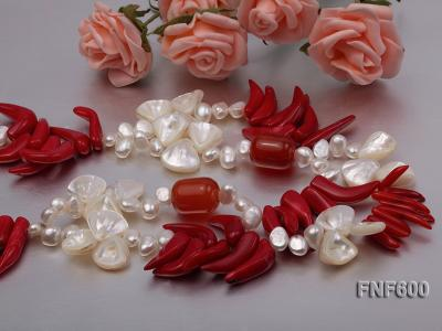Two-row White Cultured Freshwater Pearl Necklace Decorated with Corals and Shell Pieces FNF600 Image 5