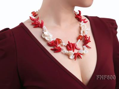 Two-row White Cultured Freshwater Pearl Necklace Decorated with Corals and Shell Pieces FNF600 Image 7