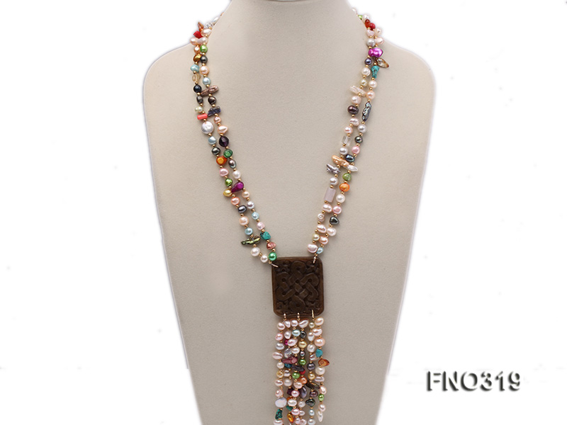 7-9mm multicorlor flat FW pearl two-strand necklace big Image 1