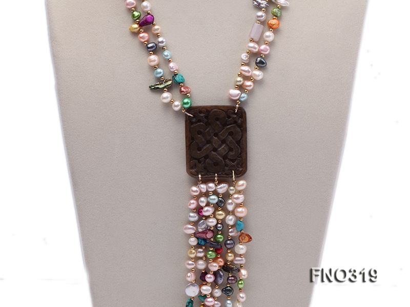 7-9mm multicorlor flat FW pearl two-strand necklace big Image 2