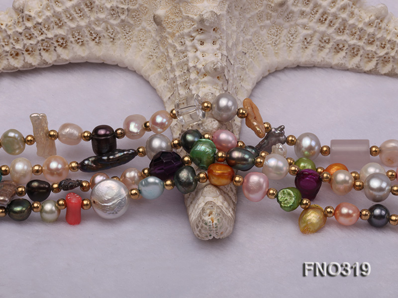 7-9mm multicorlor flat FW pearl two-strand necklace big Image 5