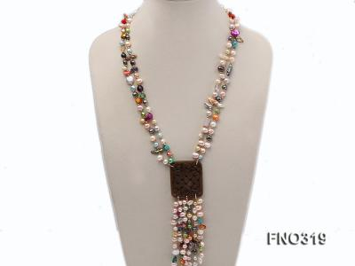 7-9mm multicorlor flat FW pearl two-strand necklace FNO319 Image 1