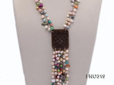 7-9mm multicorlor flat FW pearl two-strand necklace FNO319 Image 2
