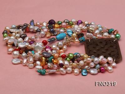 7-9mm multicorlor flat FW pearl two-strand necklace FNO319 Image 4