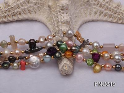7-9mm multicorlor flat FW pearl two-strand necklace FNO319 Image 5