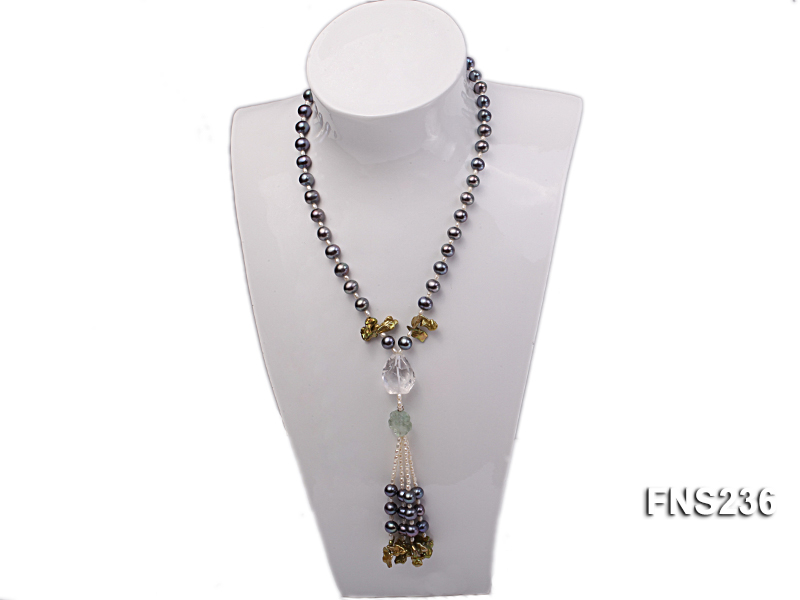 7-8mm grey round freshwater pearl with crystal and white rice pearl single strand necklace big Image 4