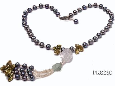 7-8mm grey round freshwater pearl with crystal and white rice pearl single strand necklace FNS236 Image 1