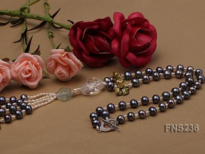 7-8mm grey round freshwater pearl with crystal and white rice pearl single strand necklace FNS236 Image 2