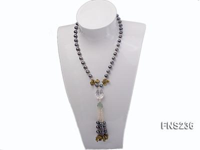 7-8mm grey round freshwater pearl with crystal and white rice pearl single strand necklace FNS236 Image 4