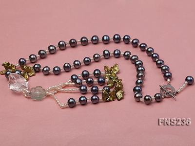 7-8mm grey round freshwater pearl with crystal and white rice pearl single strand necklace FNS236 Image 6