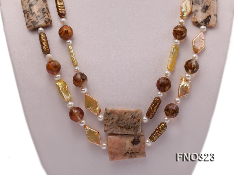 8.5x19mm  tiger iron jasper and white round freshwater pearl and red stone necklace big Image 2