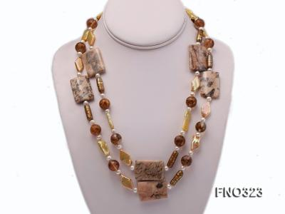 8.5x19mm  tiger iron jasper and white round freshwater pearl and red stone necklace FNO323 Image 1