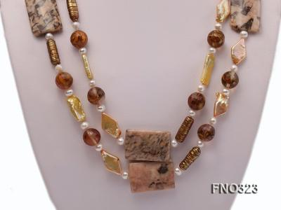 8.5x19mm  tiger iron jasper and white round freshwater pearl and red stone necklace FNO323 Image 2