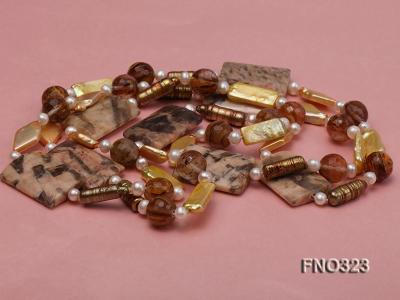8.5x19mm  tiger iron jasper and white round freshwater pearl and red stone necklace FNO323 Image 3