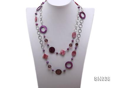 Shell, Freshwater Pearl and Crystal Opera Necklace SN038 Image 1