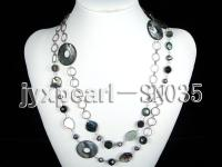 Shell, Freshwater Pearl and Crystal Opera Necklace SN035