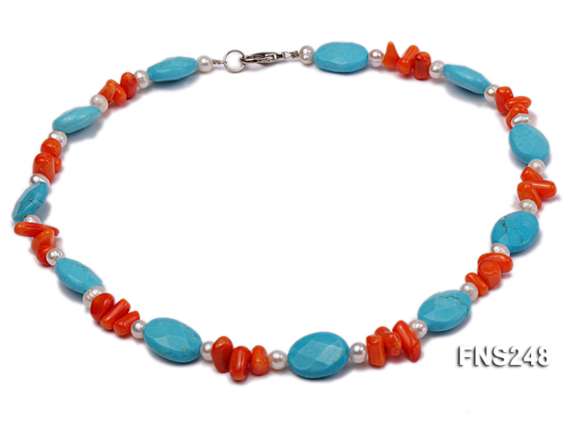 Natural white freshwater pearl with oval carved blue turquoise and orange coral necklace big Image 1