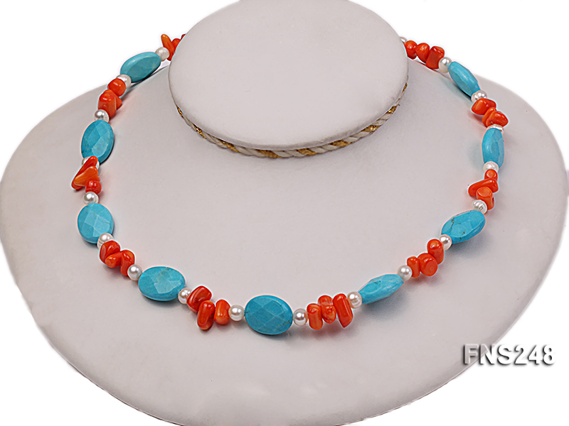Natural white freshwater pearl with oval carved blue turquoise and orange coral necklace big Image 2