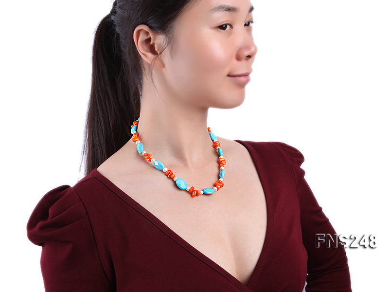 Natural white freshwater pearl with oval carved blue turquoise and orange coral necklace big Image 3