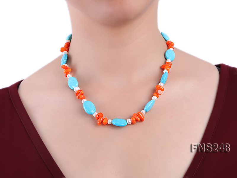 Natural white freshwater pearl with oval carved blue turquoise and orange coral necklace big Image 4